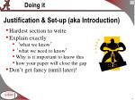 justification set up aka introduction