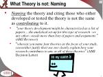 what theory is not naming
