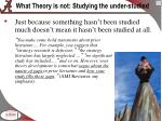 what theory is not studying the under studied