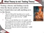 what theory is not testing theory