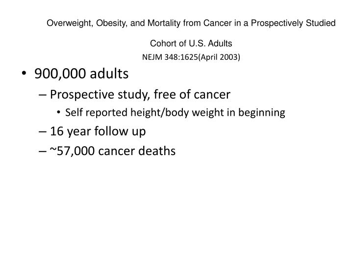 Overweight, Obesity, and Mortality from Cancer in a Prospectively Studied Cohort of U.S. Adults