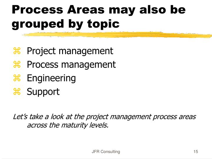 Process Areas may also be grouped by topic