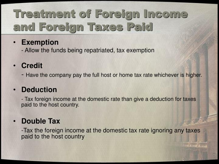 Treatment of Foreign Income and Foreign Taxes Paid
