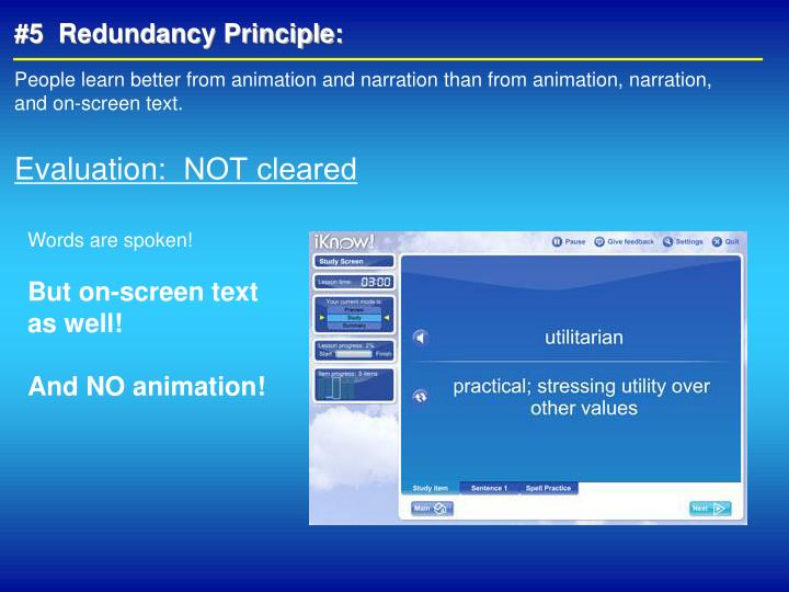 #5  Redundancy Principle: