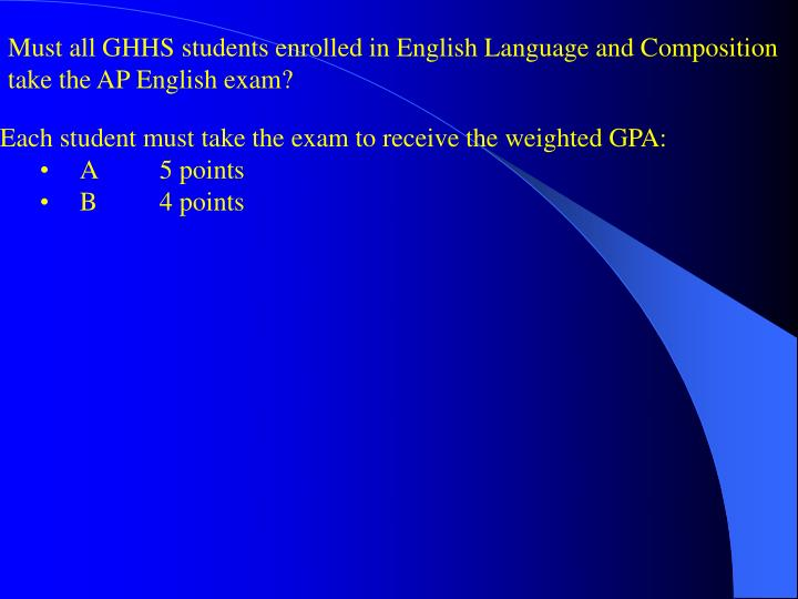 Must all GHHS students enrolled in English Language and Composition