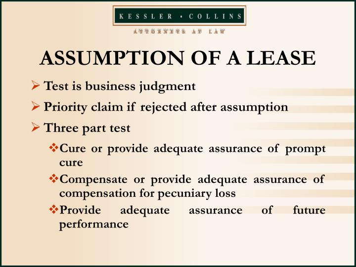 ASSUMPTION OF A LEASE