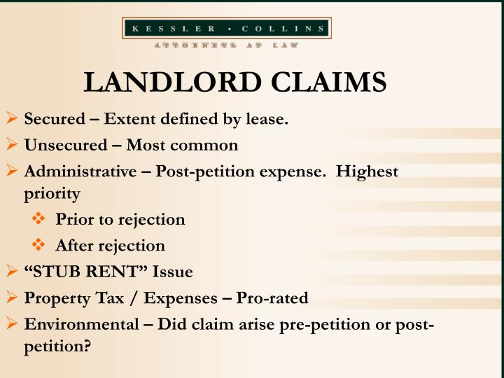 LANDLORD CLAIMS