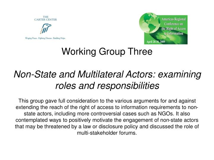 role of non state actors in