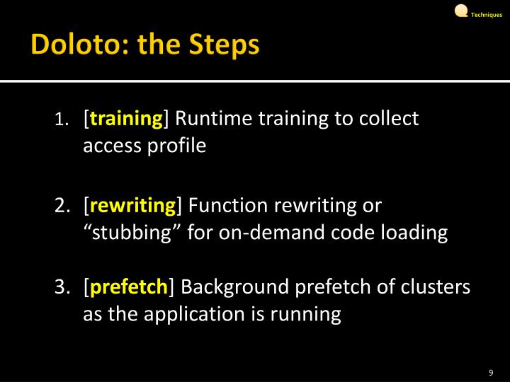 Doloto: the Steps