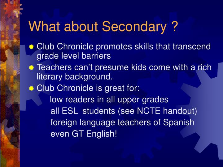 What about Secondary ?