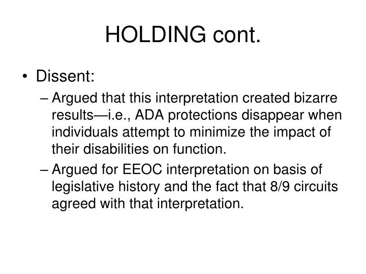 HOLDING cont.