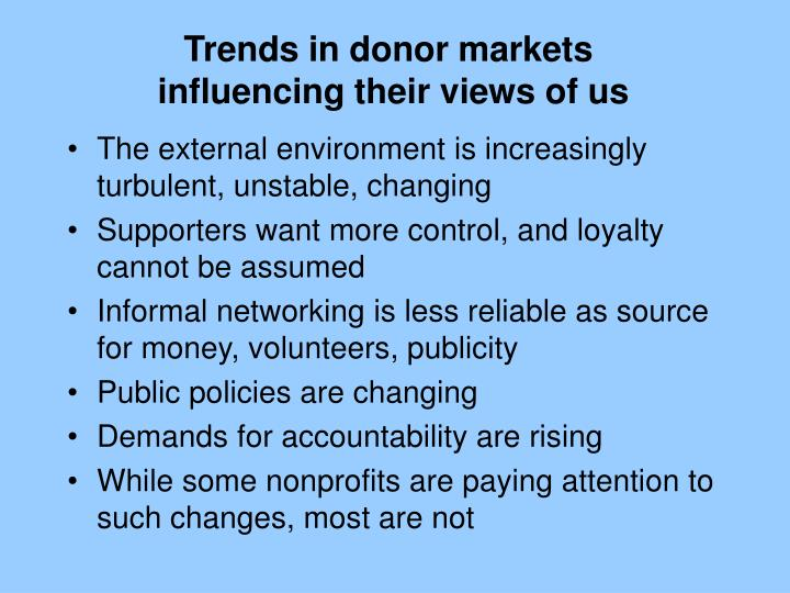 Trends in donor markets