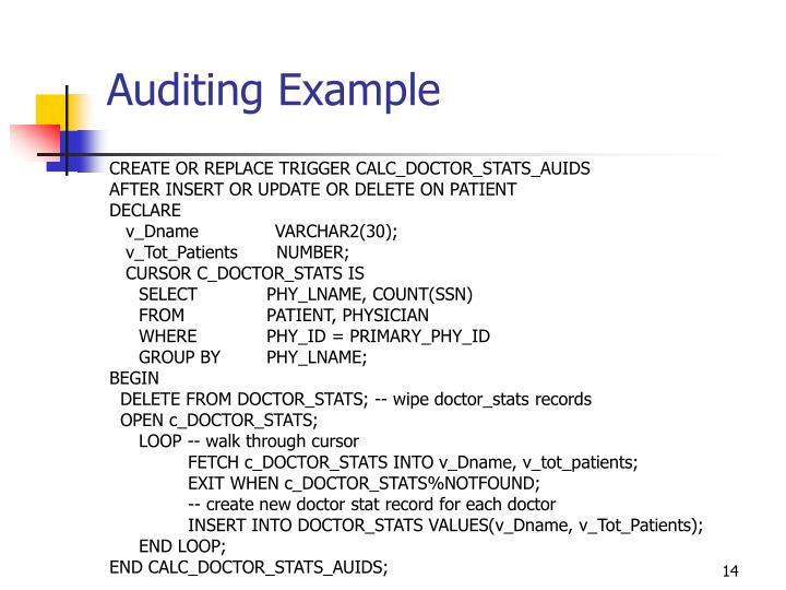Auditing Example