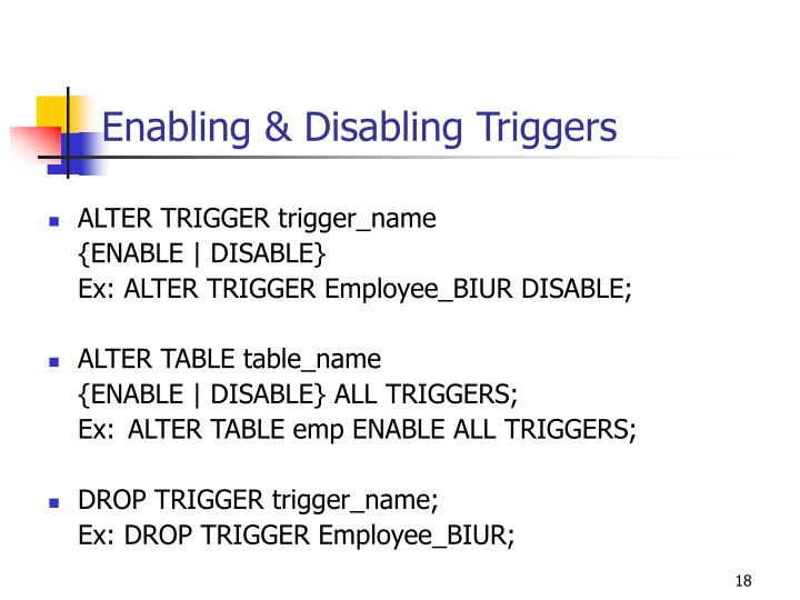 Enabling & Disabling Triggers