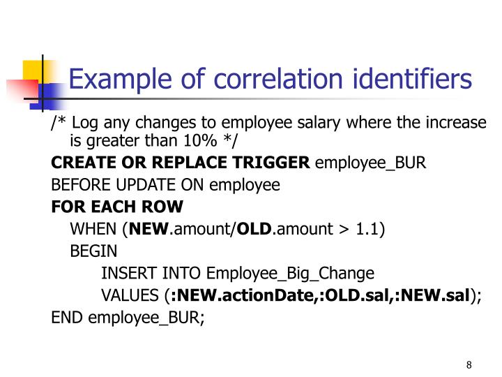 Example of correlation identifiers