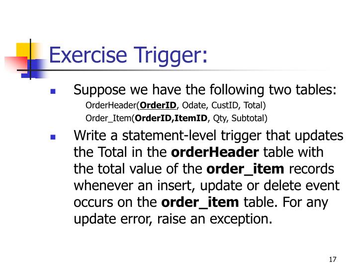 Exercise Trigger: