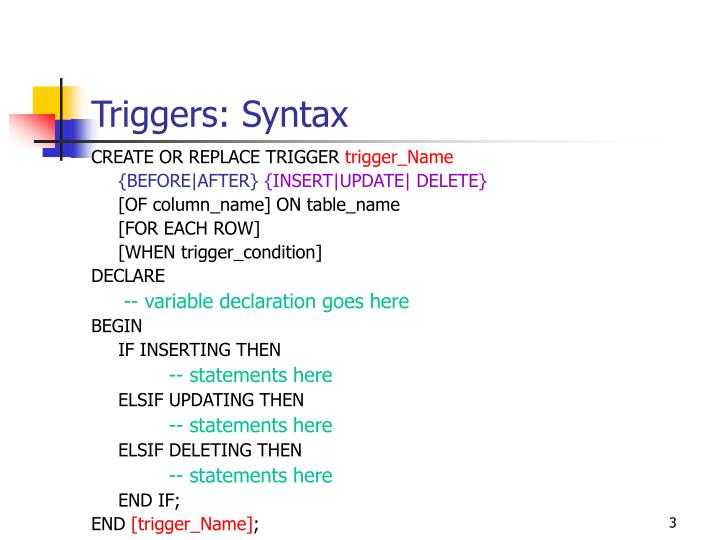 Triggers syntax