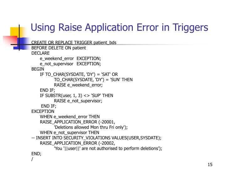 Using Raise Application Error in Triggers