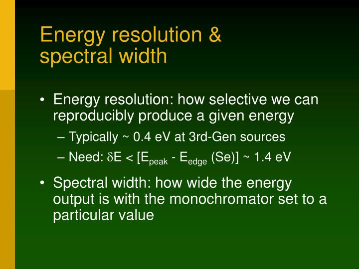 Energy resolution &
