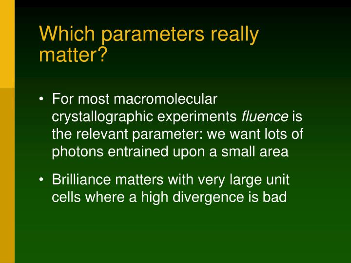Which parameters really matter?