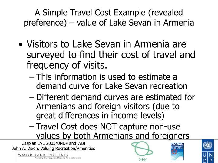 A Simple Travel Cost Example (revealed preference) – value of Lake Sevan in Armenia