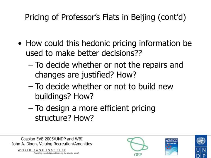 Pricing of Professor's Flats in Beijing (cont'd)