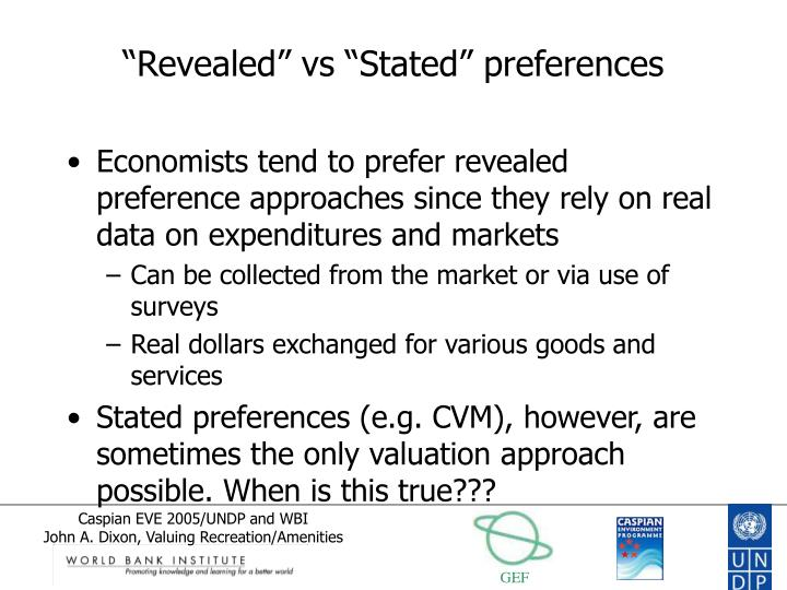 """Revealed"" vs ""Stated"" preferences"
