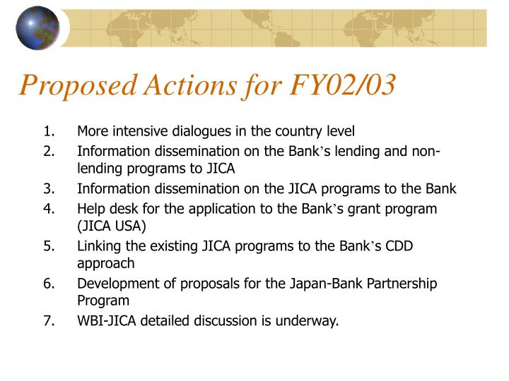 Proposed Actions for FY02/03