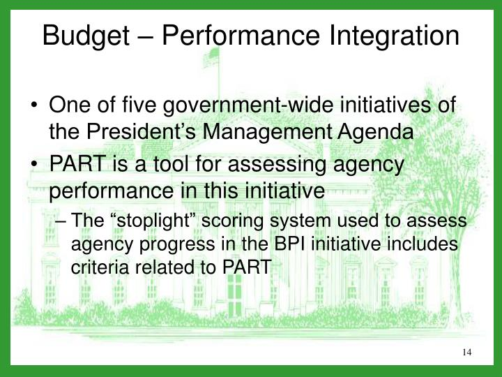 One of five government-wide initiatives of the President's Management Agenda