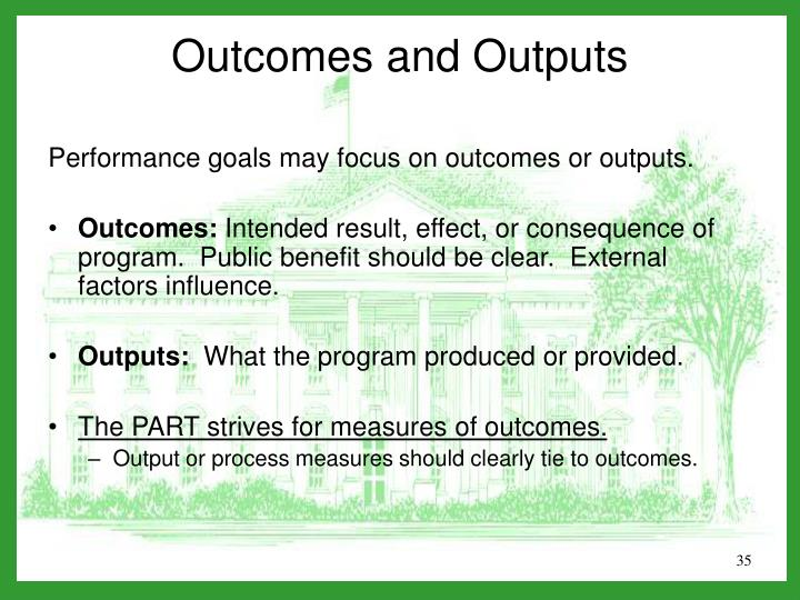 Performance goals may focus on outcomes or outputs.