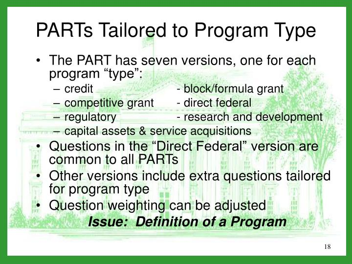 """The PART has seven versions, one for each program """"type"""":"""