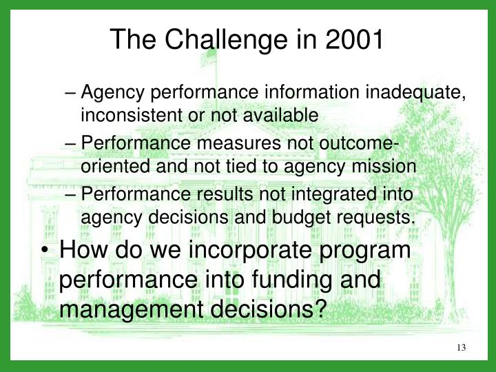 Agency performance information inadequate, inconsistent or not available