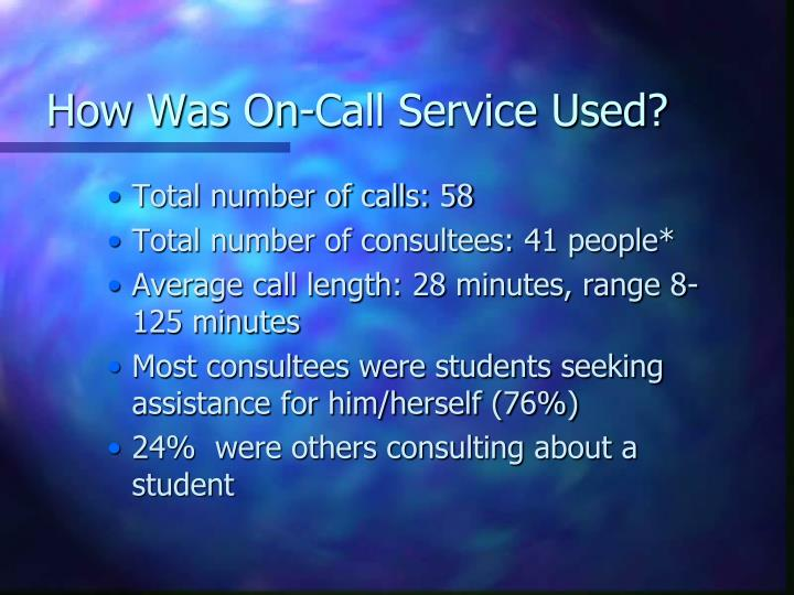 How Was On-Call Service Used?