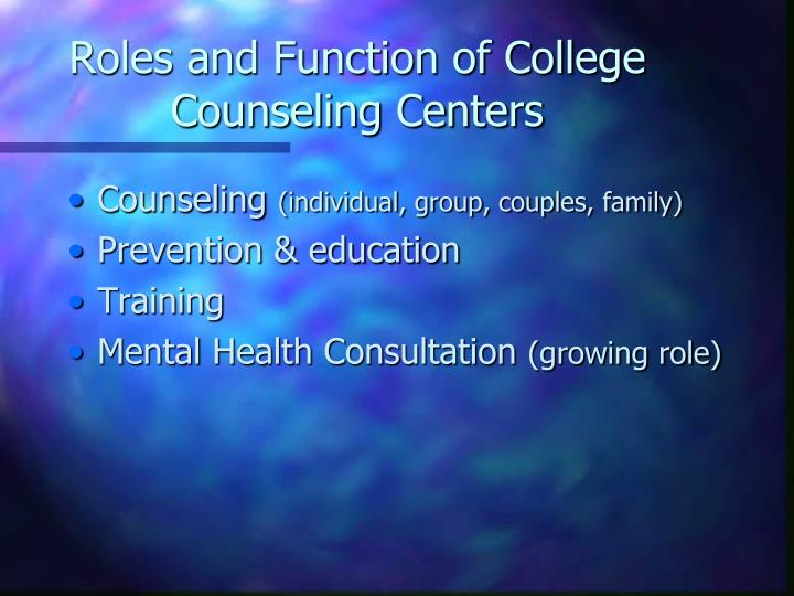 Roles and Function of College Counseling Centers
