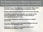 the development of an objectives constraints tree proceeds from the attributes list and pcc