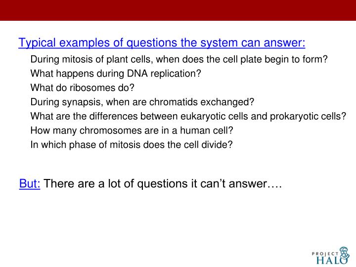 Typical examples of questions the system can answer: