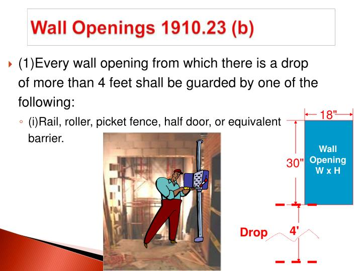 (1)Every wall opening from which there is a drop of more than 4 feet shall be guarded by one of the following: