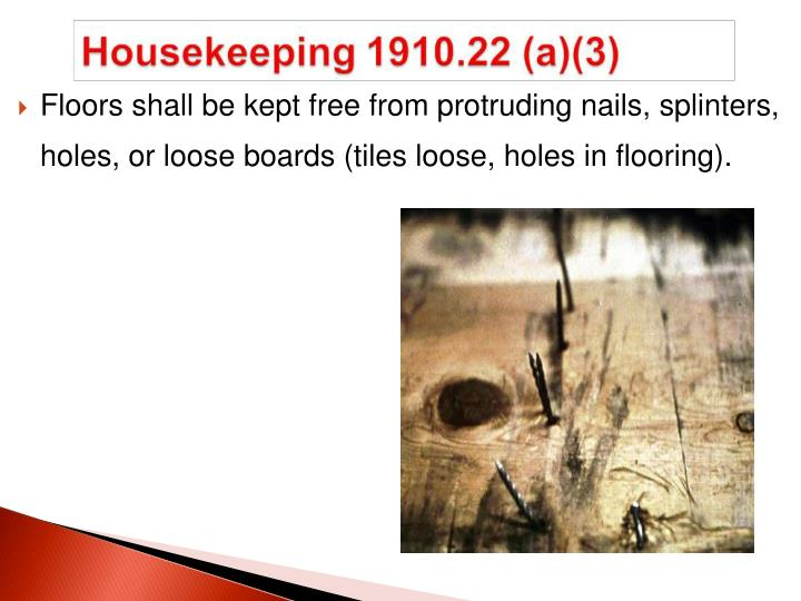 Floors shall be kept free from protruding nails, splinters, holes, or loose boards (tiles loose, holes in flooring).