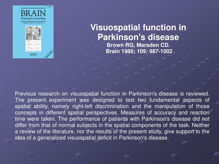 Visuospatial function in Parkinson's disease