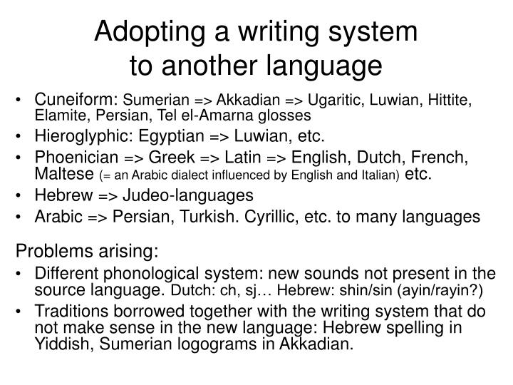 Adopting a writing system