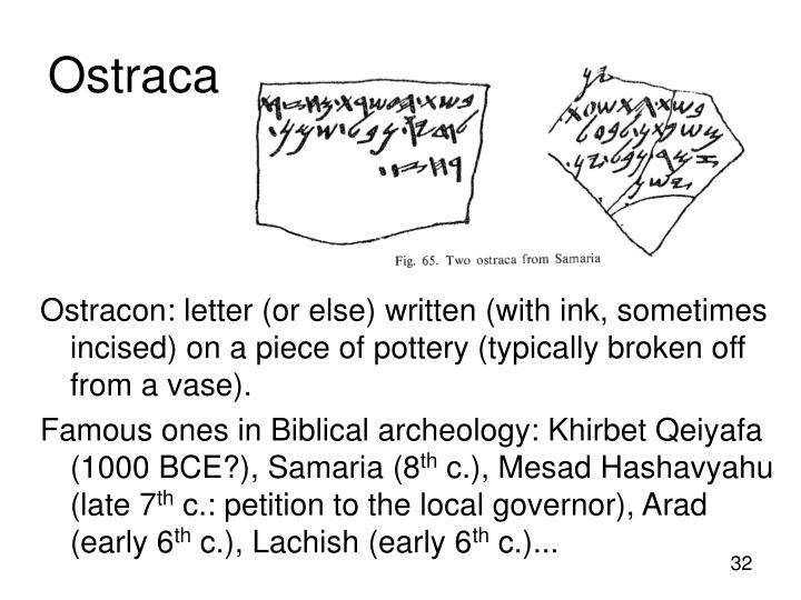 Ostracon: letter (or else) written (with ink, sometimes incised) on a piece of pottery (typically broken off from a vase).