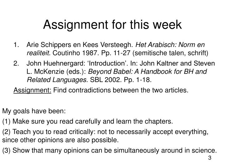 Assignment for this week