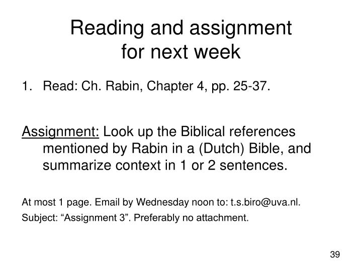 Reading and assignment