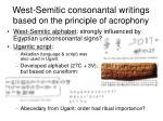 west semitic consonantal writings based on the principle of acrophony