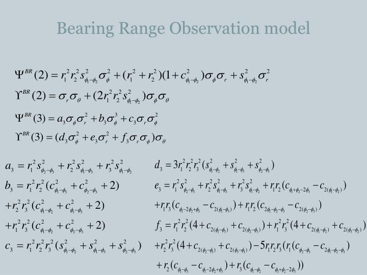 Bearing Range Observation model