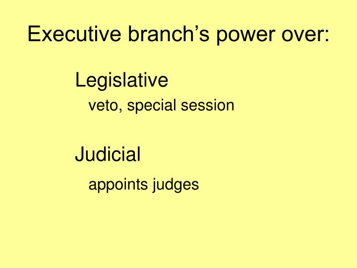 Executive branch's power over: