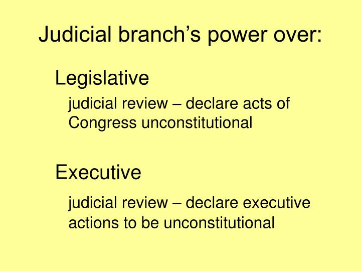 Judicial branch's power over: