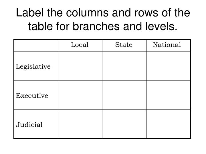 Label the columns and rows of the table for branches and levels.