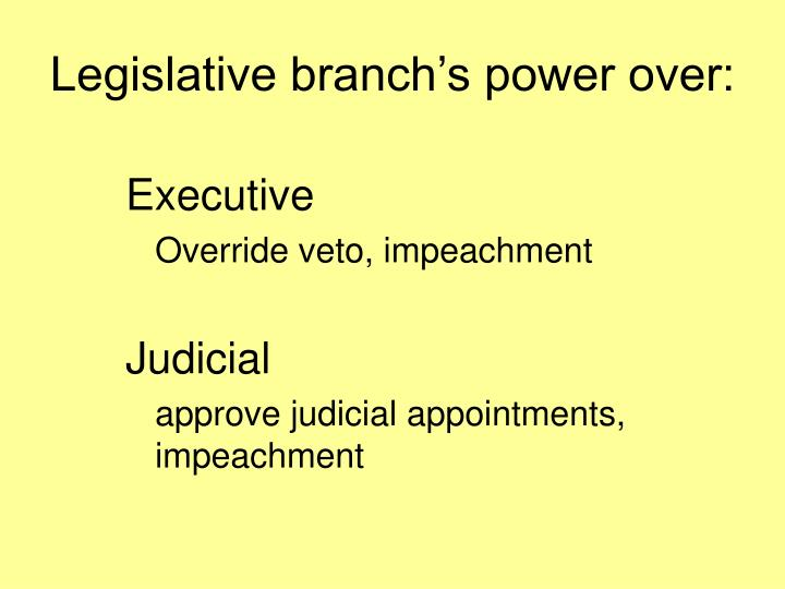 Legislative branch's power over: