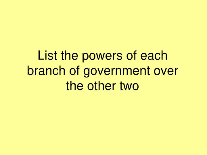 List the powers of each branch of government over the other two